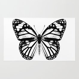 Monarch Butterfly | Black and White Rug