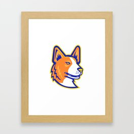 Cardigan Welsh Corgi Head Mascot Framed Art Print