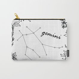 Floral Gemini Constellation Carry-All Pouch