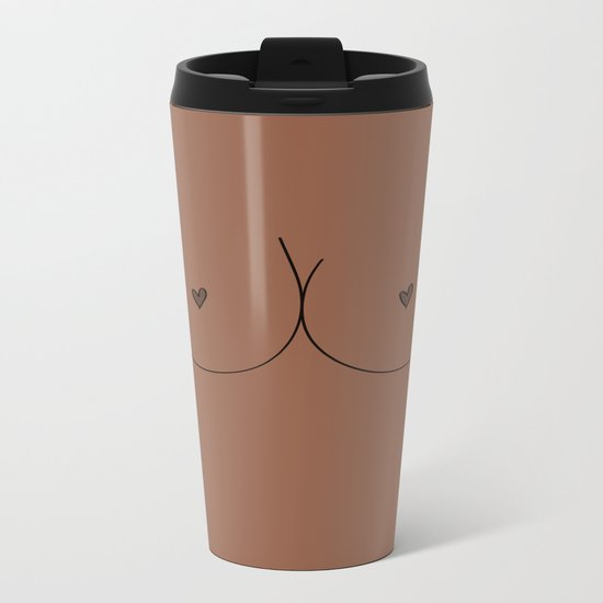 Boobs - Medium Brown Metal Travel Mug