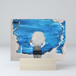 Blue Sky and the Future Painting by Jodi Tomer. Blonde Girl Portrait Mini Art Print