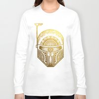 gold foil Long Sleeve T-shirts featuring Mandala BobaFett - Gold Foil by Spectronium - Art by Pat McWain