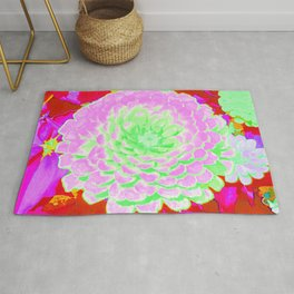 Pretty Pink and Green Zinnia in the Summer Garden Rug