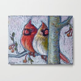 Winter Cardinal Pair Metal Print