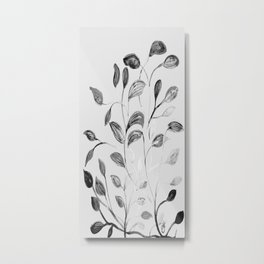 Red and Green Leaves! Romantic Silver Grey! Metal Print