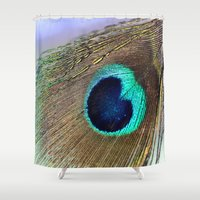 peacock feather Shower Curtains featuring Peacock feather by Hannah