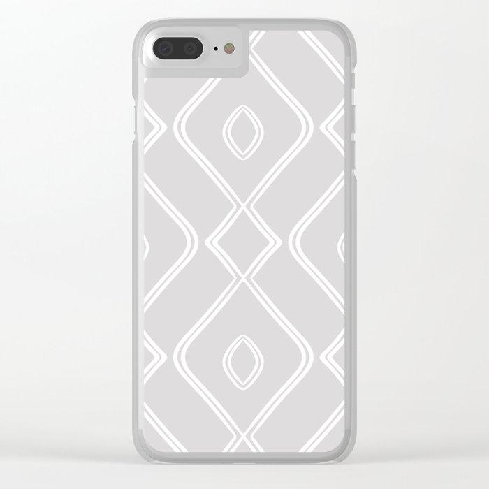 Modern Boho Ogee in Grey Clear iPhone Case