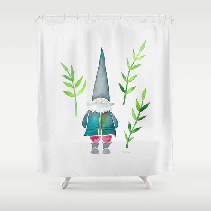 Summer Gnome - Green Leaves Shower Curtain by agannshop | Society6