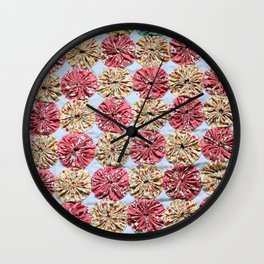 Pink  Yo Yo Quilt Wall Clock