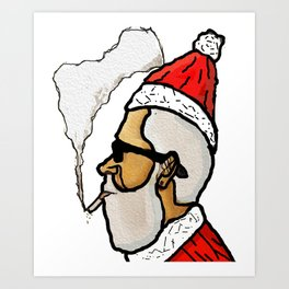 merry christmas red santaclous with sunglasses is smoking Art Print