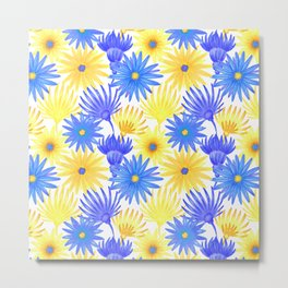 Modern blue yellow watercolor hand painted flowers Metal Print