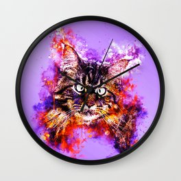 squinting maine coon cat splatter watercolor Wall Clock