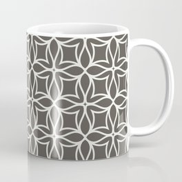 Brown and White Line Art Flower Petal Pattern 2021 Color of the Year Urbane Bronze Extra White Coffee Mug