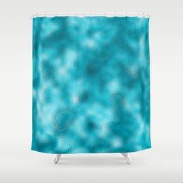 Neon Turquoise Mottled Metallic Foil Shower Curtain