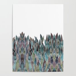 Plants decorations shades of green and purple watercolor Poster