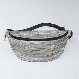 Gray Slate Stone Brick Texture Faux Wall Fanny Pack