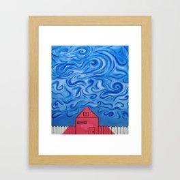 Red House. White Gate. Framed Art Print