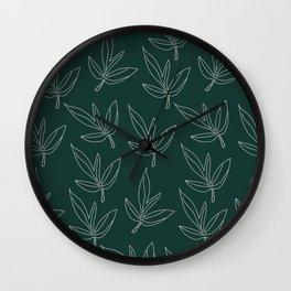 Minimal Line Art Leaf Pattern Forest Green Wall Clock