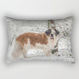 St Bernard dog in the snow Rectangular Pillow