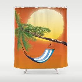 Hammock & Setting sun Shower Curtain