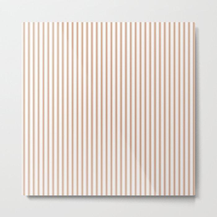 Wild MeerKat Brown Mattress Ticking Narrow Striped Pattern - Fall Fashion 2018 Metal Print