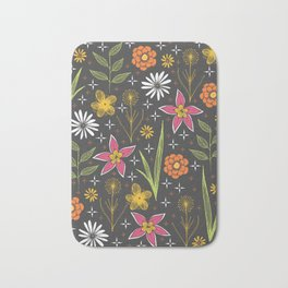 bright retro floral print Bath Mat