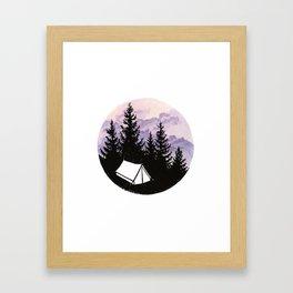 Tiny tent under evening sky Framed Art Print