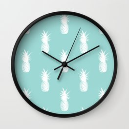 Pineapples - White on Teal Wall Clock