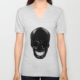 Skull Black Low Poly Unisex V-Neck