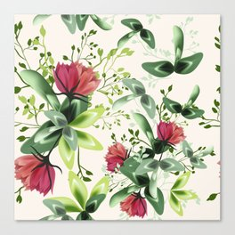 Fashion textile floral vector pattern with rustic clover flowers Canvas Print