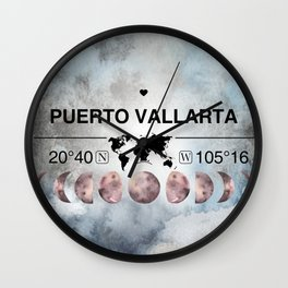 Puerto Vallarta, Mexico, Jalisco, Watercolor Design with Latitude & Longitude Map Coordinates Wall Clock