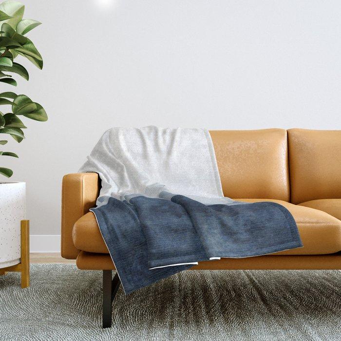 Indigo Abstract Watercolor Mountains Throw Blanket