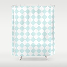 Diamonds - White and Light Cyan Shower Curtain