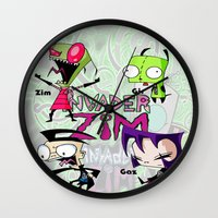 invader zim Wall Clocks featuring Invader Zim best decoration ideas by customgift