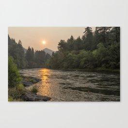 Fire Sunrise on McKenzie River Canvas Print