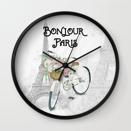 Vintage Bicycle Bonjour Paris Wall Clock