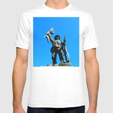 Statue Honoring Soldiers from WW1 MEDIUM White Mens Fitted Tee