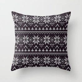 Knitted Christmas pattern in retro style ugly sweater design black Throw Pillow