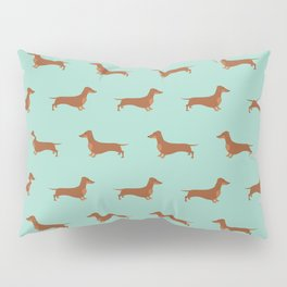 Red Dachshund Chocolate Tan Sausage Dog on Mint Green Background Dog Pattern for Dog Lover Pillow Sham