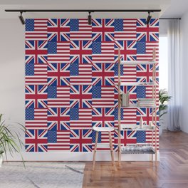 Mix of flag: Usa and uk Wall Mural