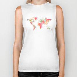 world map pink floral watercolor Biker Tank