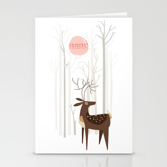 Reindeer of the Silver Wood Stationery Cards
