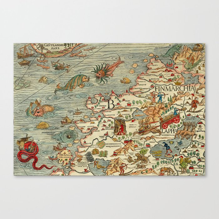 image relating to Scandinavia Map Printable identified as Medieval Map Scandinavia 1539 Canvas Print through digitaleffects