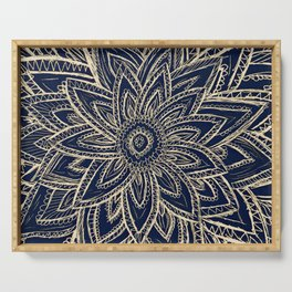 Cute Retro Gold abstract Flower Drawing  geometric Serving Tray