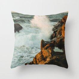 waves come crashing Throw Pillow
