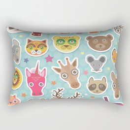 funny animals muzzle. Teal background with stars, Polka dot. Vector illustration Rectangular Pillow