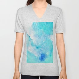 Artistic turquoise aqua teal watercolor paint Unisex V-Neck