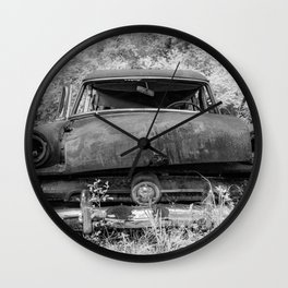 Rusting Station Wagon Infrared Black and White Abandoned Wall Clock