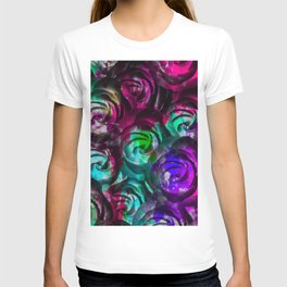 closeup rose texture pattern abstract background in red purple blue T-shirt