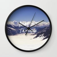 never stop exploring Wall Clocks featuring Never Stop Exploring by Kathrin Legg